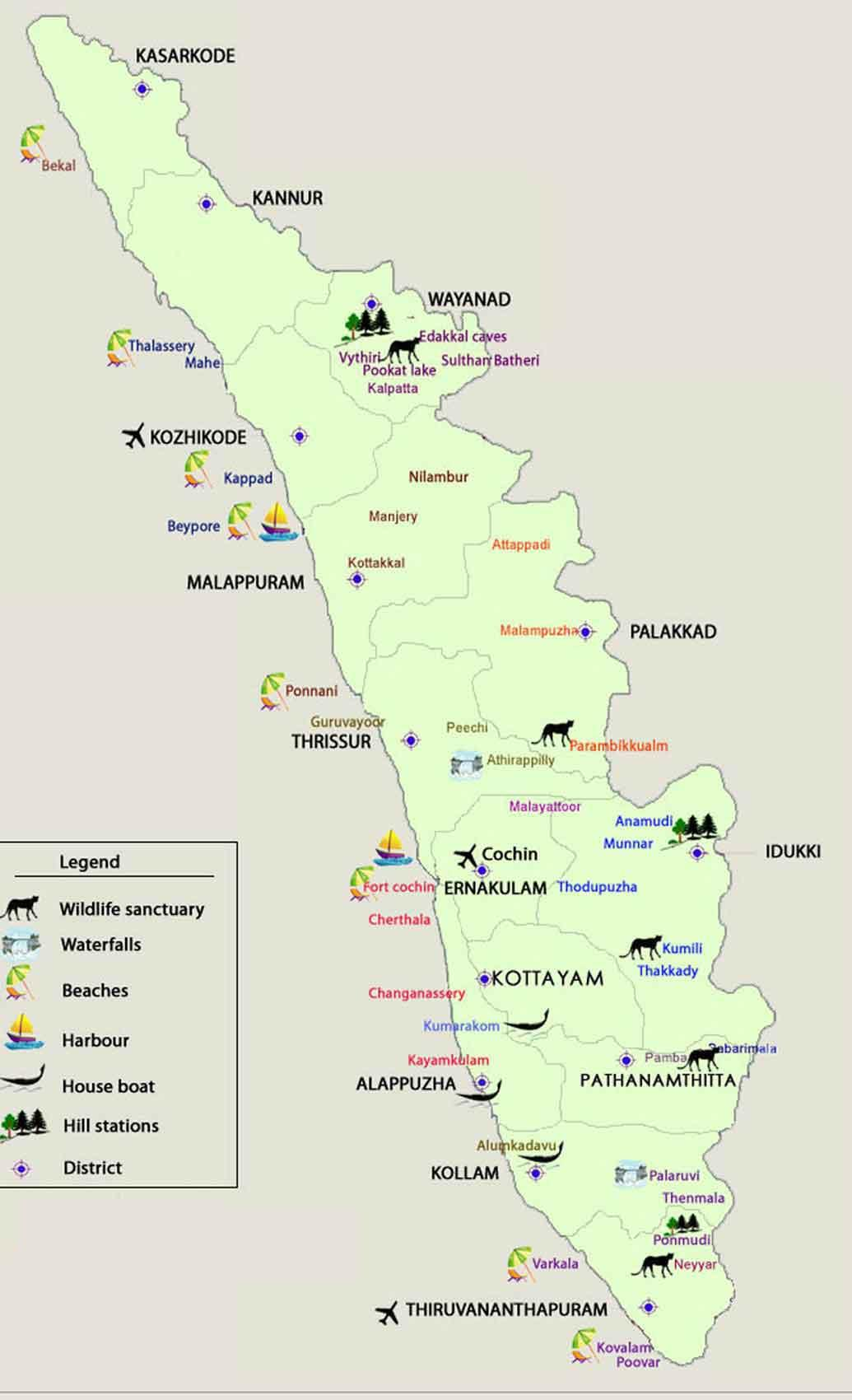 Kerala Tourist Map – Tourist Map of Kerala